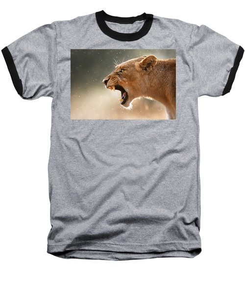 Lioness Displaying Dangerous Teeth In A Rainstorm Baseball T-Shirt by Johan Swanepoel
