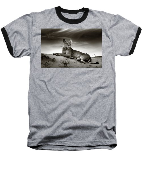 Lioness On Desert Dune Baseball T-Shirt by Johan Swanepoel