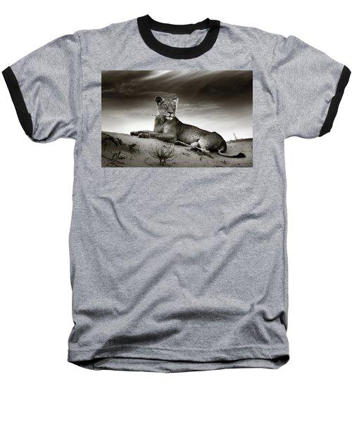 Lioness On Desert Dune Baseball T-Shirt