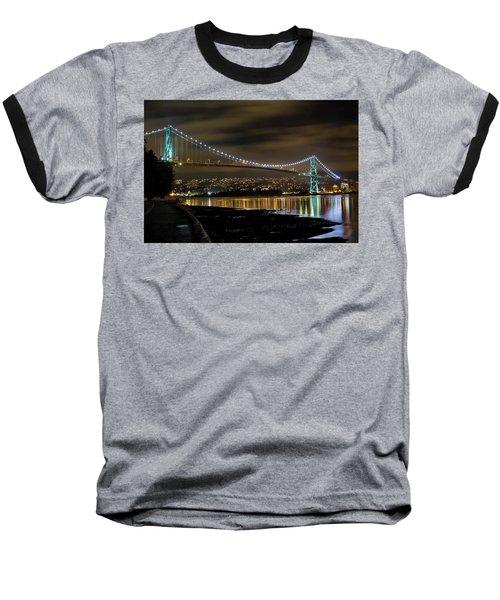 Lions Gate Bridge At Night Baseball T-Shirt