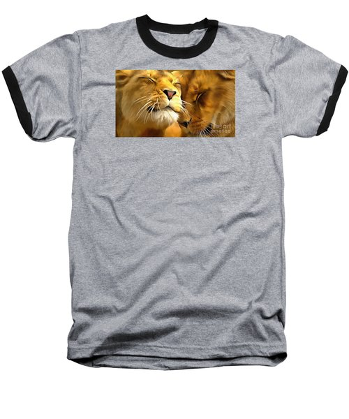 Lions In Love Baseball T-Shirt by Catherine Lott