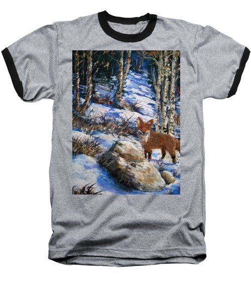 Baseball T-Shirt featuring the painting Little Fox by Megan Walsh