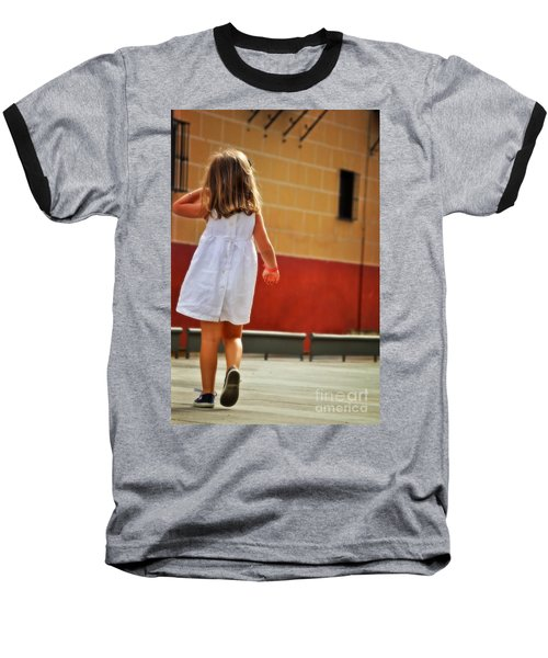 Little Girl In White Dress Baseball T-Shirt by Mary Machare