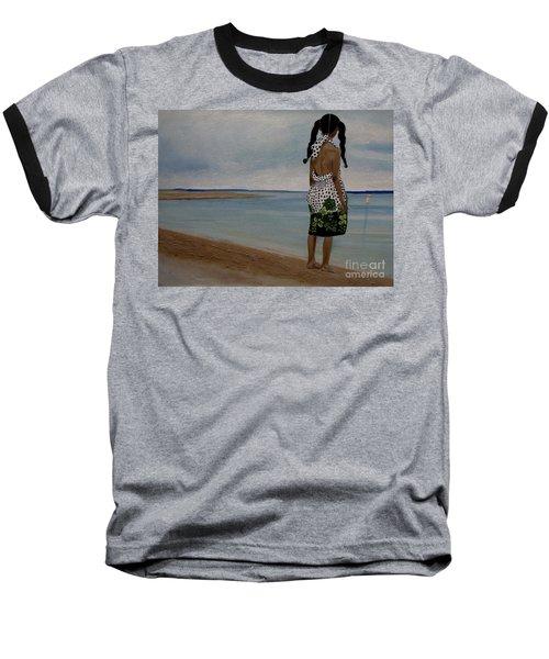 Little Girl On The Beach Baseball T-Shirt by Chelle Brantley