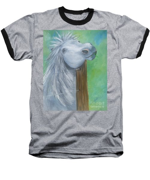 Baseball T-Shirt featuring the painting Little Grey Has An Itch by Isabella F Abbie Shores FRSA