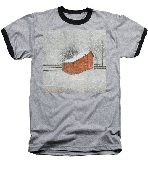 Little Red Barn Baseball T-Shirt by Juli Scalzi