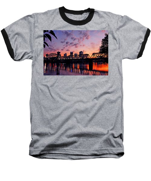 Little Rock Bridge Sunset Baseball T-Shirt