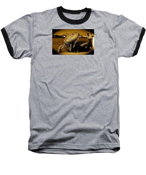 Lizard Sunbathing In Miami II Baseball T-Shirt