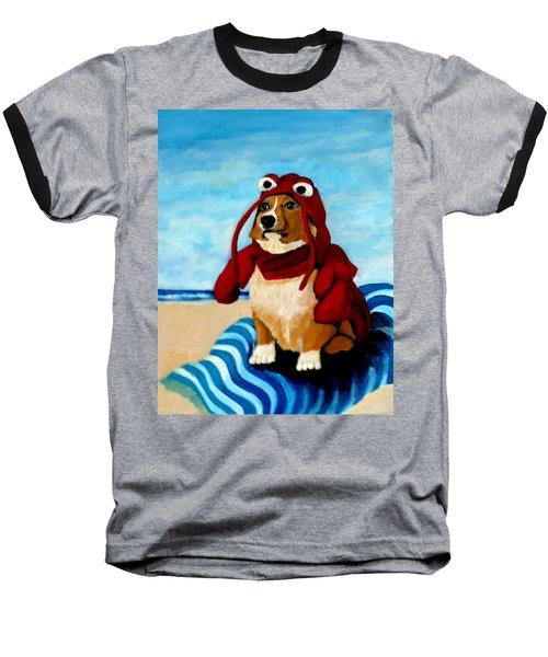 Lobster Corgi On The Beach Baseball T-Shirt