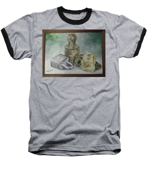 Baseball T-Shirt featuring the painting Locked And Anchored by Mary Ellen Anderson