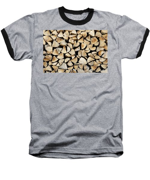 Logs Background Baseball T-Shirt