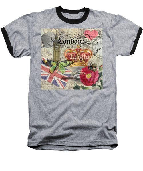 London England Vintage Travel Collage  Baseball T-Shirt