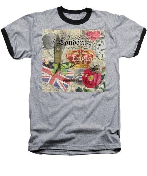 London England Vintage Travel Collage  Baseball T-Shirt