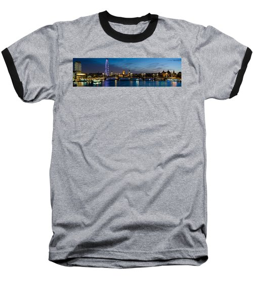 London Eye And Central London Skyline Baseball T-Shirt by Panoramic Images