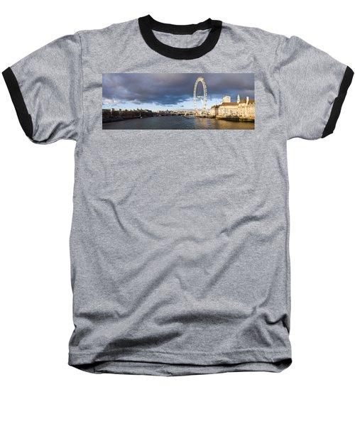 London Eye At South Bank, Thames River Baseball T-Shirt by Panoramic Images
