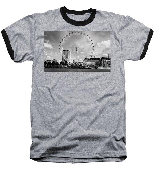Baseball T-Shirt featuring the photograph London Eye Head-on Bw by Matt Malloy