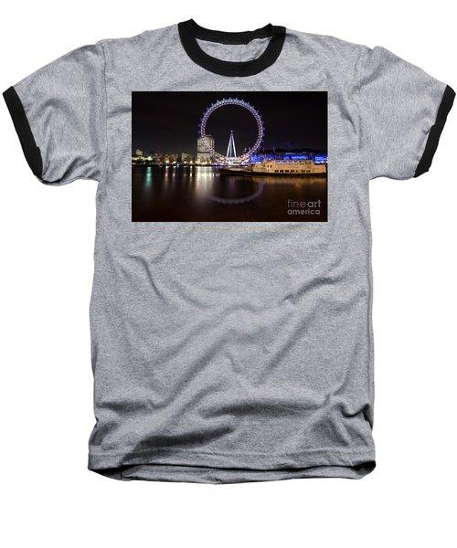 Baseball T-Shirt featuring the photograph London Eye Night by Matt Malloy