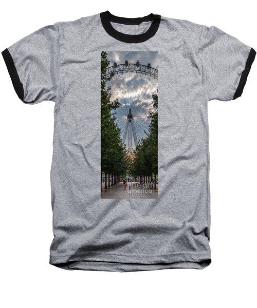 London Eye Vertical Panorama Baseball T-Shirt by Matt Malloy