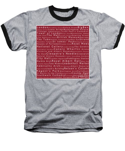 London In Words Red Baseball T-Shirt