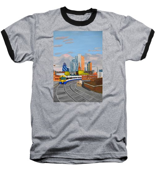 Baseball T-Shirt featuring the painting London Overland Train-hoxton Station by Magdalena Frohnsdorff