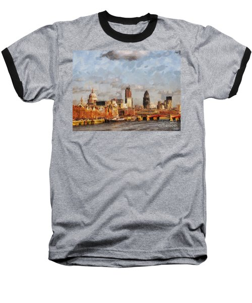 London Skyline From The River  Baseball T-Shirt by Pixel Chimp