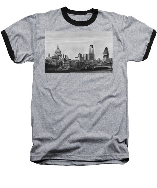 London Skyline Pencil Drawing Baseball T-Shirt