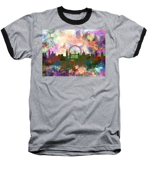 London Skyline Watercolor Baseball T-Shirt