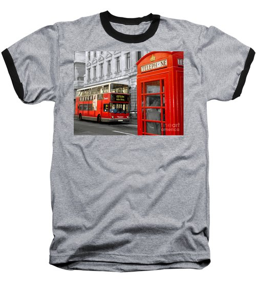 London With A Touch Of Colour Baseball T-Shirt by Nina Ficur Feenan