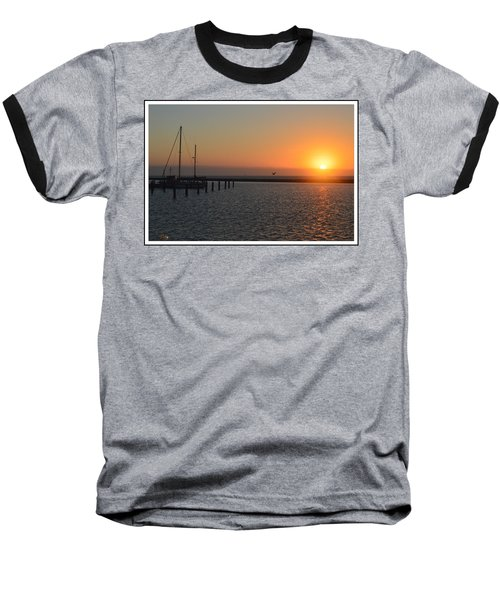 Lone Bird At The Marina Baseball T-Shirt