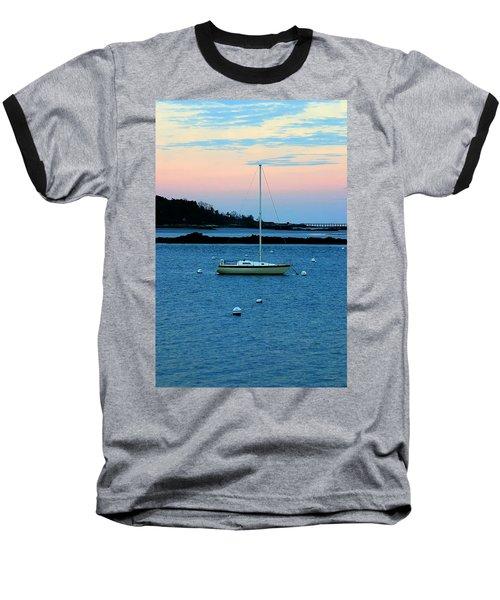 Lone Sailboat At York Maine Baseball T-Shirt