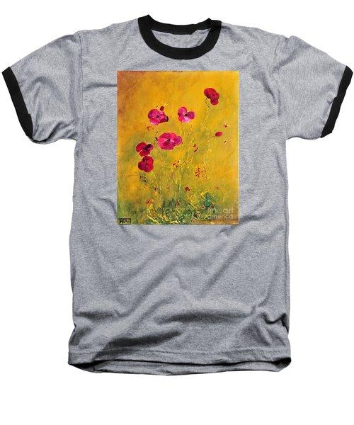 Lonely Poppies Baseball T-Shirt by Teresa Wegrzyn