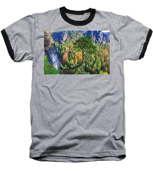 Lonely Tree In The Elbe Sandstone Mountains Baseball T-Shirt