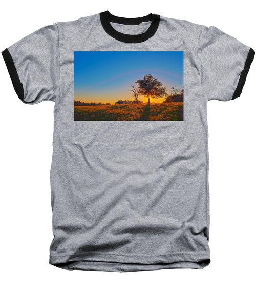 Baseball T-Shirt featuring the photograph Lonely Tree On Farmland At Sunset by Alex Grichenko