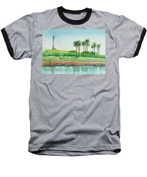 Long Beach Lighthouse Baseball T-Shirt by Debbie Lewis