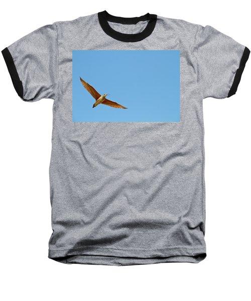 Long-billed Curlew In Flight Baseball T-Shirt