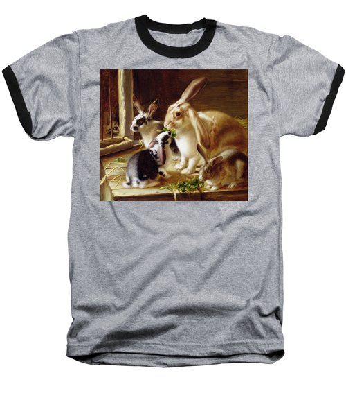 Long-eared Rabbits In A Cage Watched By A Cat Baseball T-Shirt by Horatio Henry Couldery