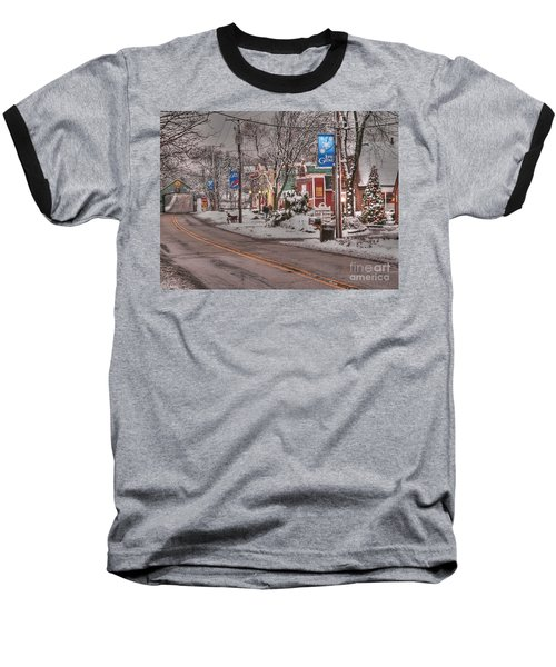 Long Grove In Snow Baseball T-Shirt