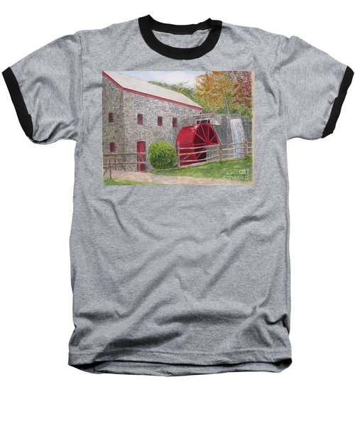 Baseball T-Shirt featuring the painting Longfellow's Gristmill by Carol Flagg