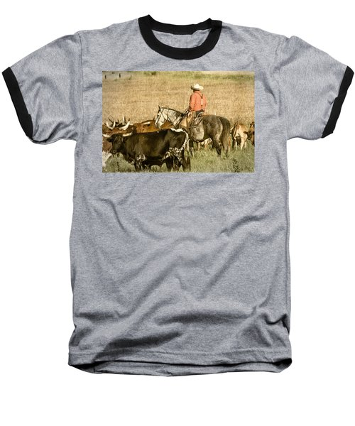 Baseball T-Shirt featuring the photograph Longhorn Round Up by Steven Bateson