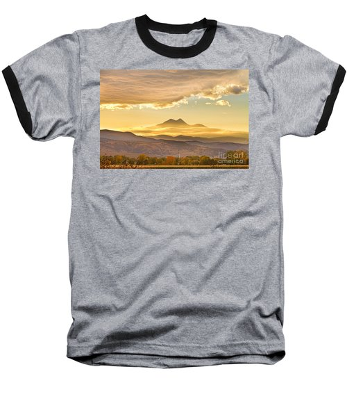 Longs Peak Autumn Sunset Baseball T-Shirt