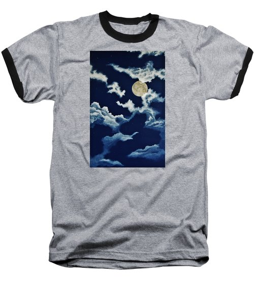 Look At The Moon Baseball T-Shirt by Katherine Young-Beck
