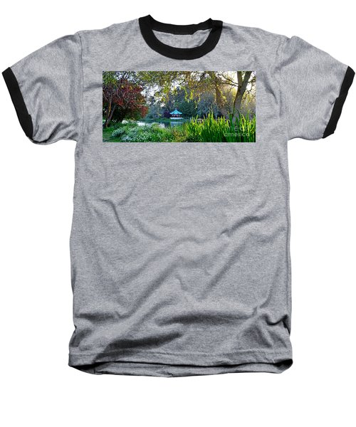 Looking Across Stow Lake At The Pagoda In Golden Gate Park Baseball T-Shirt by Jim Fitzpatrick