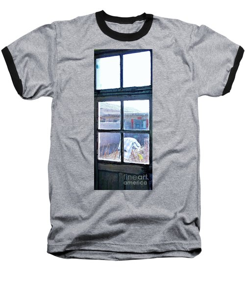 Baseball T-Shirt featuring the photograph Looking Out The Kitchen Door In February by Ethna Gillespie