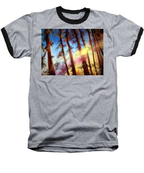 Looking Through The Trees Baseball T-Shirt by Alison Caltrider