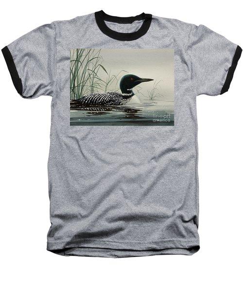 Loon Near The Shore Baseball T-Shirt by James Williamson