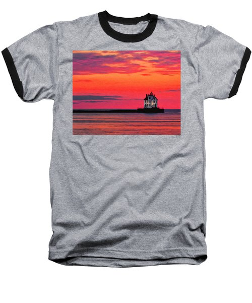 Lorain Lighthouse At Sunset Baseball T-Shirt