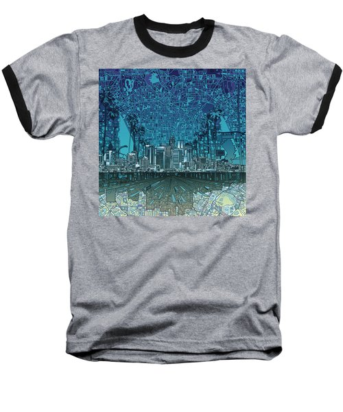 Los Angeles Skyline Abstract 5 Baseball T-Shirt by Bekim Art
