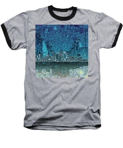 Los Angeles Skyline Abstract 5 Baseball T-Shirt