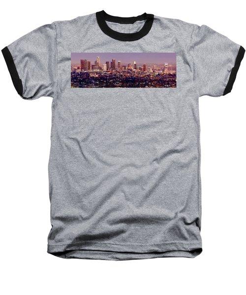 Los Angeles Skyline At Dusk Baseball T-Shirt