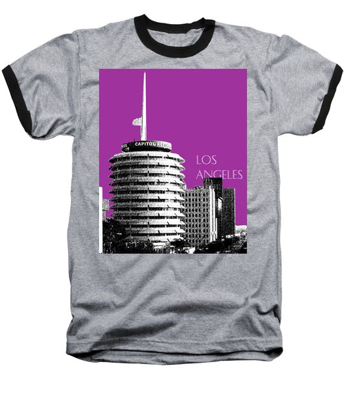Los Angeles Skyline Capitol Records - Plum Baseball T-Shirt